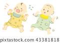 一個哭泣的嬰兒和一個快樂的嬰兒 43381818