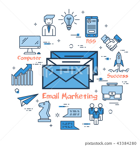 Blue round Email Marketing concept 43384280