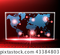 Worldmap Cyber attack by hacker concept 43384803