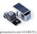 卡車的圖像充滿氫氣在氫氣駐地裝備在白色背景的太陽電池板。 43386751
