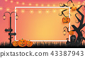 paper craft of Halloween background 43387943