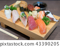 Sushi and sashimi mixed on wooden plate 43390205