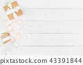 White wooden background with festive decoration 43391844