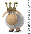 3d, illustration, sheep 43392872