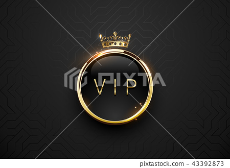 Vip black label golden frame and crown background 43392873
