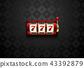 Vector red casino slot machine with lucky seven 43392879
