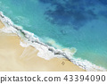 Aerial view of seascape blue ocean wave on sandy. 43394090