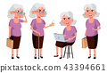 Old Woman Poses Set Vector. Elderly People. Senior Person. Aged. Funny Pensioner. Leisure. Postcard 43394661