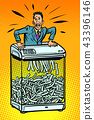 Businessman in paper shredder, office appliance. secret informat 43396146