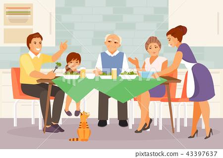 Big family at dinner 43397637