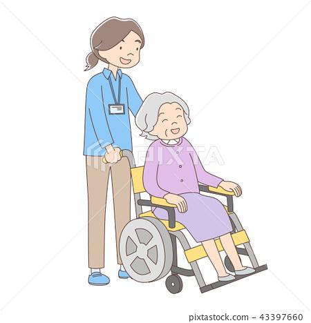 照顧者_推輪椅_全身_女人 43397660