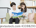 팜플렛을 보면서 여행 계획을하는 남녀 부부 커플 43398293