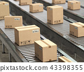 Cardboard boxes on conveyor  in  warehouse 43398355