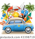 Vector Beach Concept with Blue Car 43398719