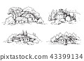 Rural Scene with Houses and Trees Sketch 43399134