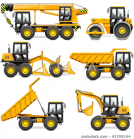 Vector Yellow Construction Machinery Set 2 43399144