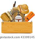 Vector Wooden Board with Safari Accessories 43399145