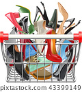 Vector Supermarket Cart with Shoes 43399149