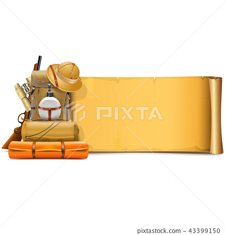 Vector Old Paper Scroll with Safari Accessories - Stock Illustration
