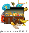 Vector Old Eastern Chest with Treasures 43399151
