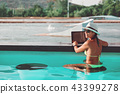 freelancer in bikini, straw hat and sunglasses 43399278