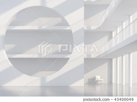 Empty white hall modern space interior 3d render 43400049