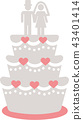 Wedding cake with topper white and rose 43401414