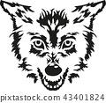 Angry wolf head 43401824