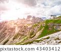 Auronzo mountain hut, aka Rifugio Auronzo, at Tre Cime massive, Dolomites, Italy. 43403412