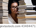 Girl shirt reading many textbooks many books night 43404471