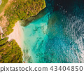 Aerial view of tropical beach with crystal ocean 43404850