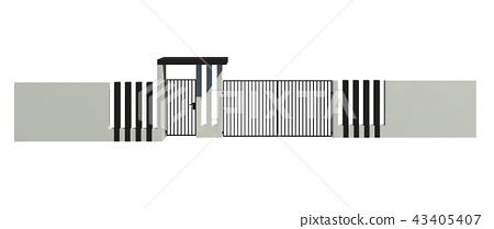 Modern Fence isolated on white background 3D illustration 43405407