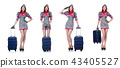 Woman with suitacases preparing for summer vacation 43405527