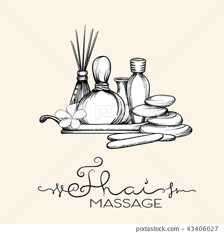 A set of items for Thai massage. Stock vector illustration. 43406027