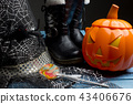 Pumpkin bucket, witch's hat and boots, Halloween 43406676
