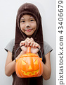 Portrait Asian girl with funny monster face 43406679