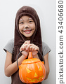 Portrait Asian girl with funny monster face 43406680