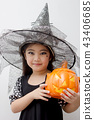 Portrait Asian girl on funny witch clothes 43406685