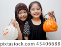 Portrait Asian girl with funny monster face  43406688
