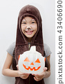 Portrait Asian girl with funny monster face 43406690