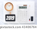 Top view of new year 2019 budget on calculator 43406764