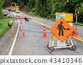 Traffic signs on highway with landslide collapsed 43410346