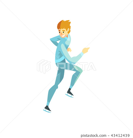 Short track speed male skater, man athlete character in sportswear, active sport lifestyle vector 43412439