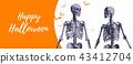 Couple of skeleton for halloween banner 43412704