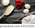 Raspberries, eggs, flour baking ingredients 43414291