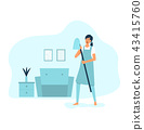 A woman singing with vacuum cleaner while cleaning 43415760