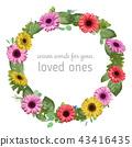 Designer vector watercolor floral frame wreath 43416435