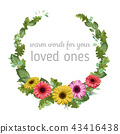 Floral vector watercolor template wreath frame 43416438