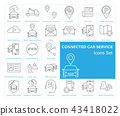 Connected Car service Icons set 43418022