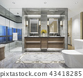 modern classic bathroom with luxury tile decor  43418285